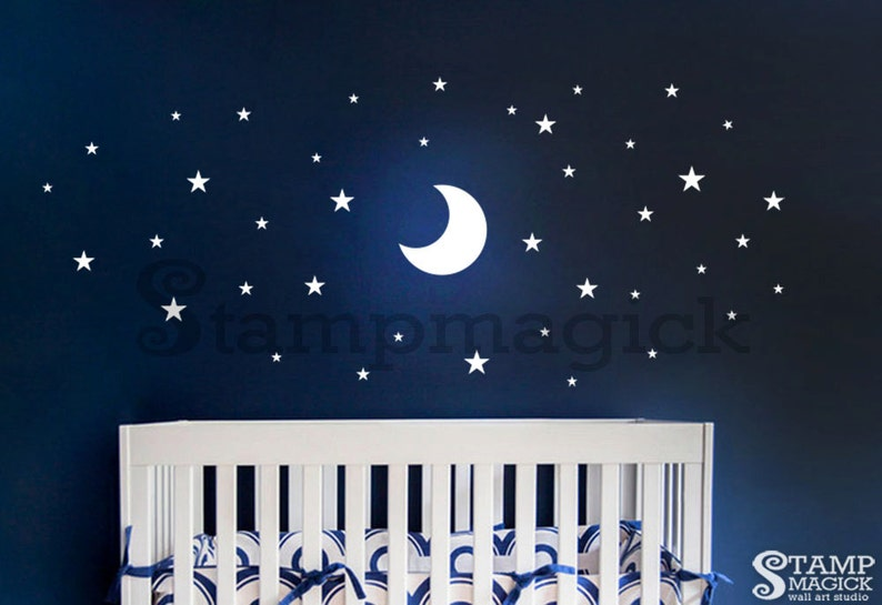 Moon Wall Decal  Stars Wall Decal  Stars Decal  Moon Decal image 0