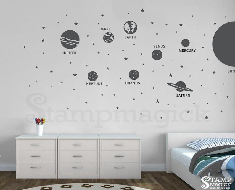 Outer Space Planets Wall Decal  Solar System Sun Vinyl Wall image 0