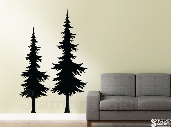Wall Decal Two Pine Trees Christmas Tree Vinyl Wall Art | Etsy