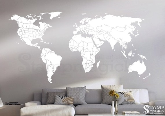World Map Wall Decal Countries United States Map Canada Etsy
