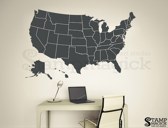United States of America Map Wall Decal - USA Wall Art Map - US map sticker  removable vinyl Chalkboard white black board U.S. K294