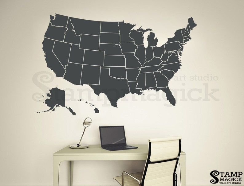United States of America Map Wall Decal  USA Wall Art Map  image 0
