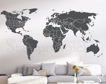 World map wall decal outlines countries world map wall art world map wall decal countries united states map canada province wall art chalkboard black white board border boundary usa k430 gumiabroncs Gallery