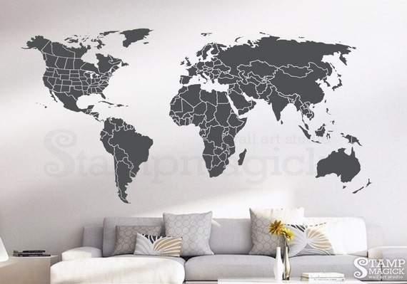 World map wall decal countries united states map canada etsy image 0 gumiabroncs Image collections