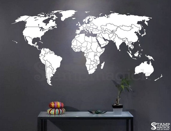 World Map Countries Wall Decal World Map Decal country | Etsy