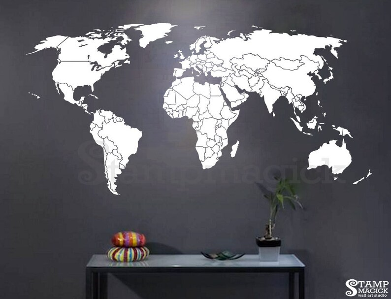 World Map Countries Wall Decal  World Map Decal  country image 0