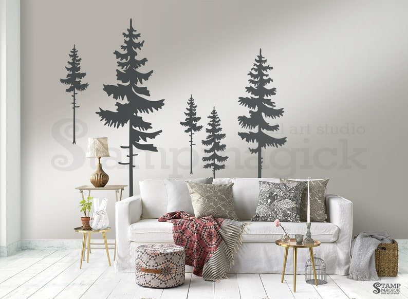 Pine Trees Forest Wall Decal  Pine Tree Wall Art  Nature image 0