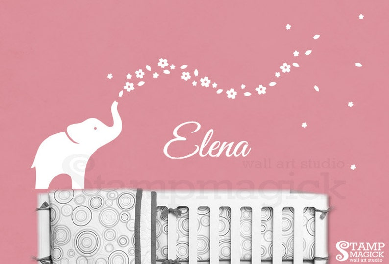 Elephant Wall Decal Baby Name for Nursery  Flowers Trail image 0