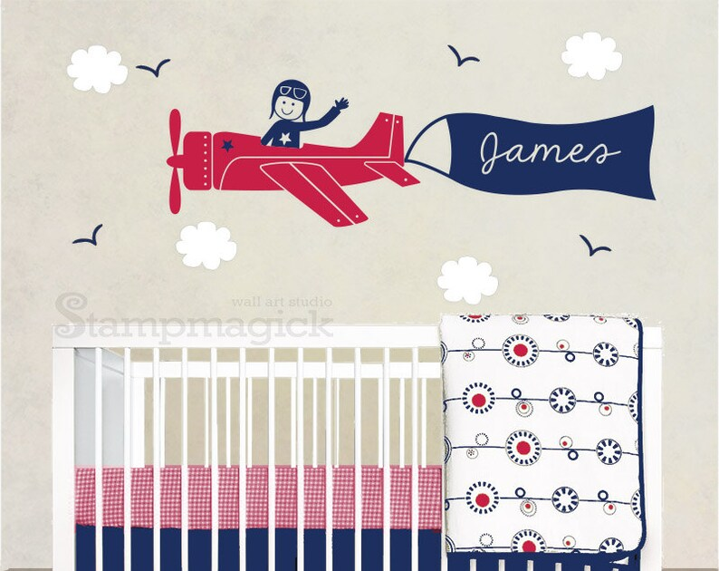 Airplane Wall Decal Sticker for Nursery Baby Boy Room  flying image 0