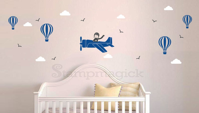 Airplane Wall Decal for Boys Room  Nursery Decor  Baby Boy image 0