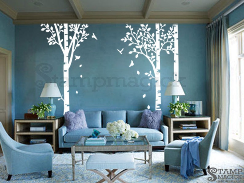 Birch Trees Forest Wall Decal  Birch Trees Decal  leaves image 0