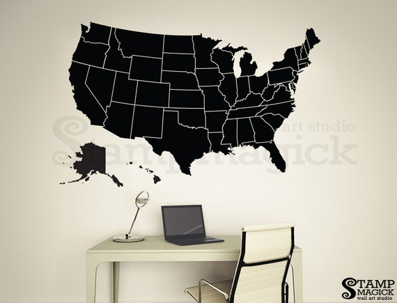 United States Map Wall Decal America Wall Map borders   Etsy