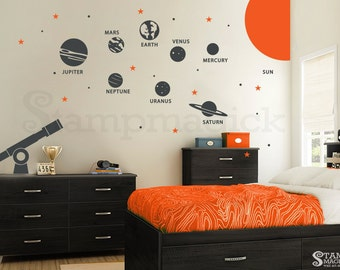 Solar System Wall Decal - Planets Wall Decal - Telescope Universe Outer Space Wall Decal Wall Mural - Stars Children Wall Art - K219R