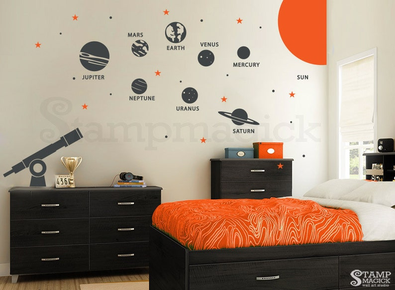 Solar System Wall Decal  Planets Wall Decal  Telescope image 0