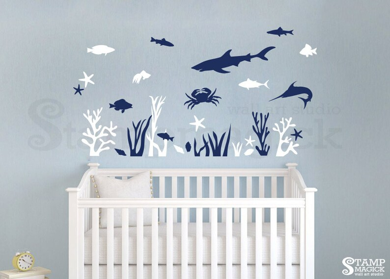 Fish Under Water Wall Decal for Nursery or Baby's Room  image 0