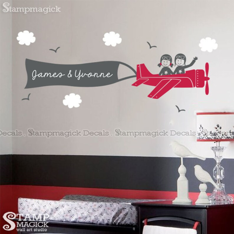 Siblings Plane Wall Decal  Twin Boy or Girl Pilots  Flying image 0