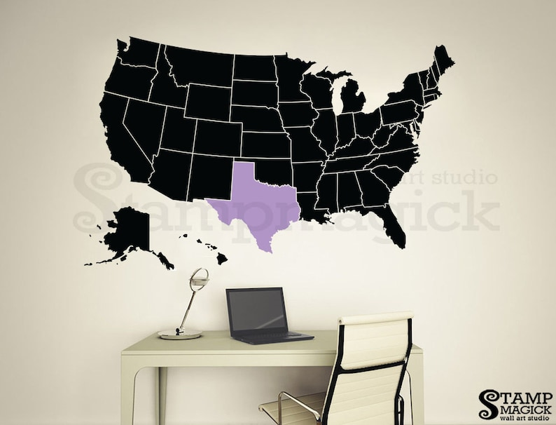 United States of America Wall Map Decal  some states in 2nd image 0