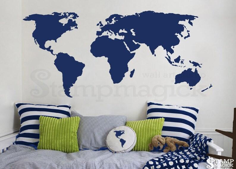 World Map Decal  world map wall decal wall art chalkboard image 0
