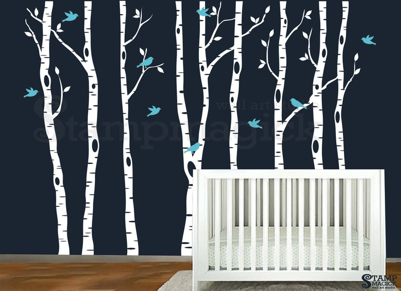Birch Trees Forest Wall Decal  Nursery Vinyl Wall Decor Birds image 0