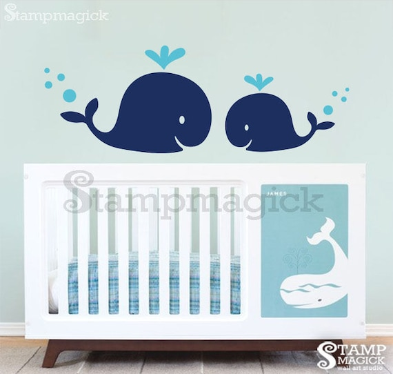 Baby Whale Wall Decal Mom Whale Fish Vinyl Wall Decal Graphics Decor Art Removable For Children Nursery K131