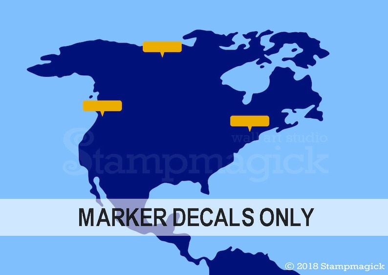 Map Pin Wall Decal Stickers  Callout Style   map markers image 0