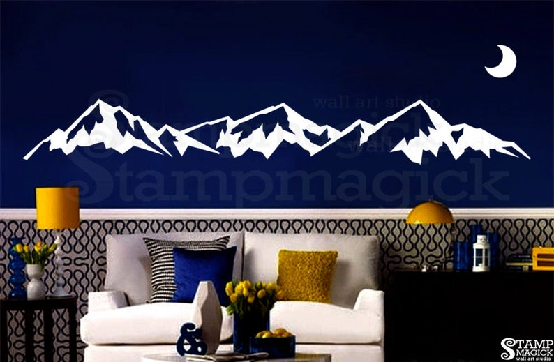 Wide Mountain Range Wall Decal  Mountain Wall Art  hill image 0