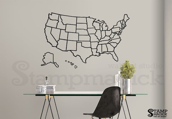 United States of America Map Outlines Wall Decal - USA Outlined Lines  Boundaries wall map vinyl chalkboard US USA map sticker - K455