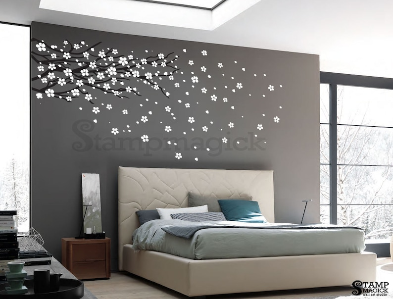 Blowing Cherry Blossoms Wall Decal  Cherry Blossoms Branch image 0