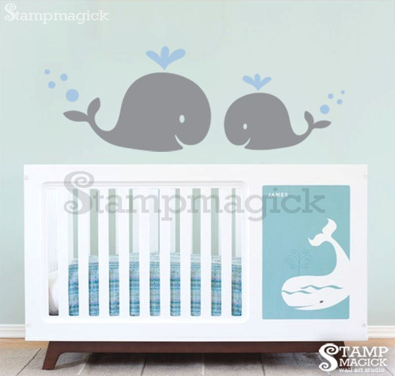 Mom & Baby Whale Wall Decal  boy nursery wall graphics decor image 0