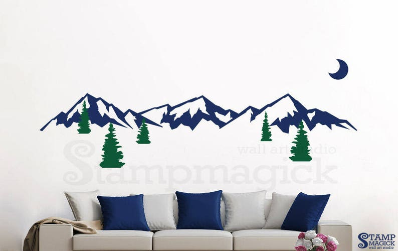 mountain scenery wall decal mountain range trees wall art | etsy