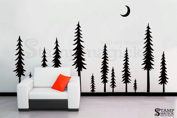 pine tree forest wall decal pine trees forest landscape wall | etsy