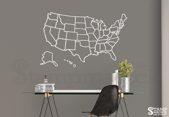 Map of United States of America Outlines Wall Decal - Lines US USA Outlined  Boundaries borders wall map vinyl lines sticker - K455