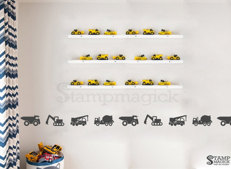 Construction Truck Border Wall Decal  dump truck pattern image 0