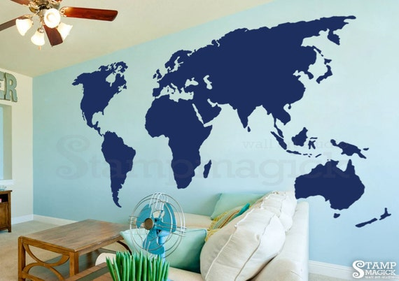 Large World Map Wall Decal 7 Or 8 Feet Tall World Map Etsy