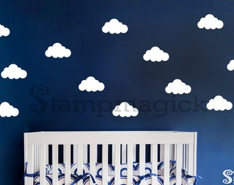 Clouds Wall Decal - Clouds Wallpaper Effect - Vinyl Wall Stencil Effect Graphics - Vinyl Wall Decal for Nursery - K236