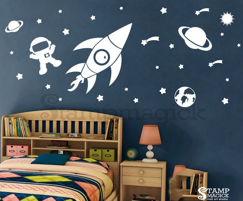 Outer Space Wall Decal  Baby Boy Nursery  Rocket Planet image 0