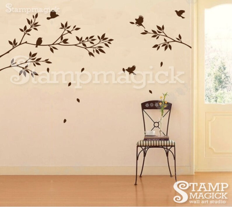 Tree Branch Birds Wall Decal Stickers  branch decal  tree image 0