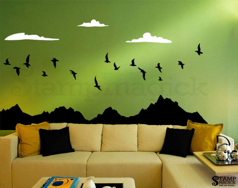 mountain range flying birds wall decal mountain clouds decal | etsy