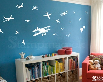 Flying Planes Wall Decal - Airplane Wall Decal Graphics Decor - K226