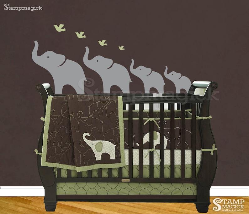 Familia De Elefantes De 4 Niños Dormitorio Guardería Vinilo Pared Calcomanía//Pegatinas De Vinilo