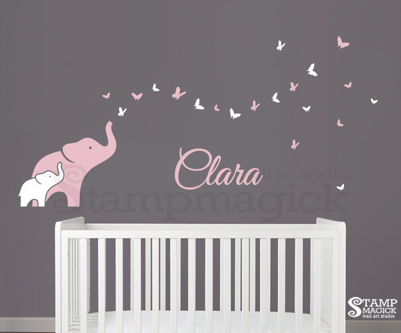 Elephant & Butterflies Nursery Name Wall Decal for Baby Girl image 0