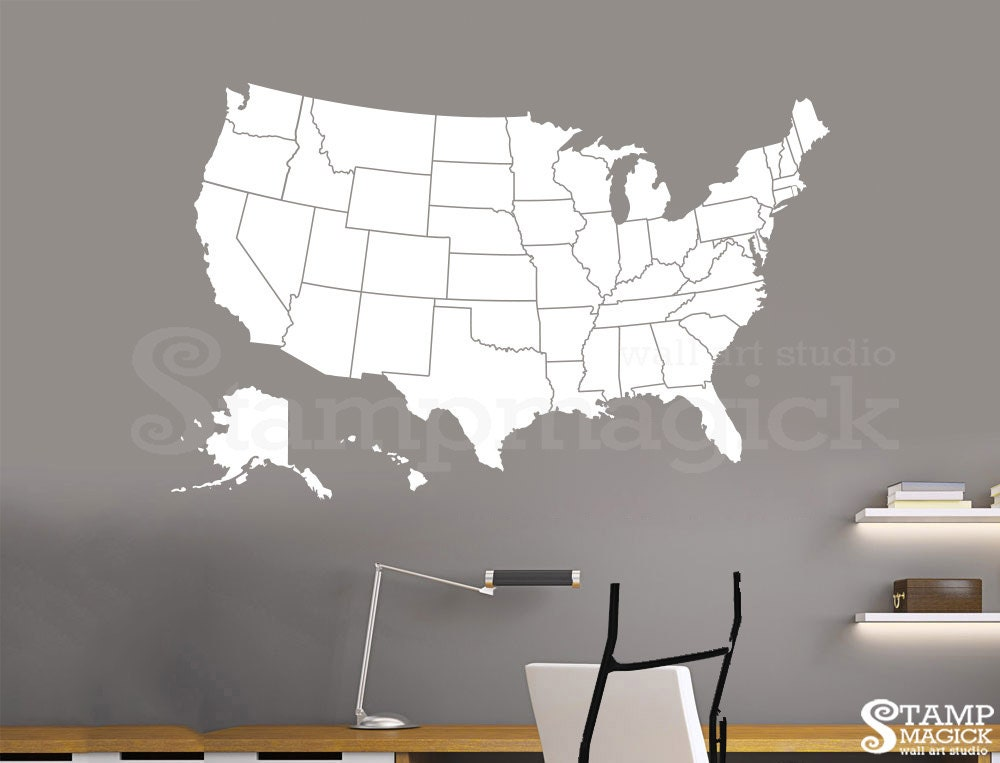 United States Of America Map Wall Decal Usa Wall Map Vinyl Etsy