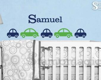 Cars Wall Decal with Name - nursery decor baby boy room vinyl wall decal art - K084