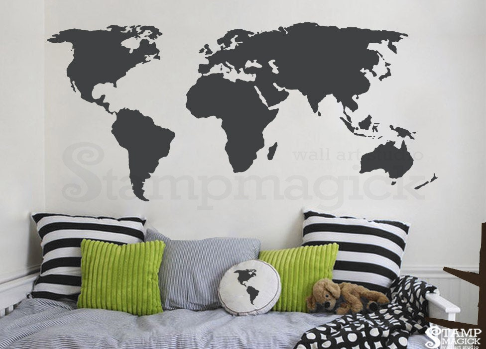world map wall decal world map decal vinyl wall art mural | etsy