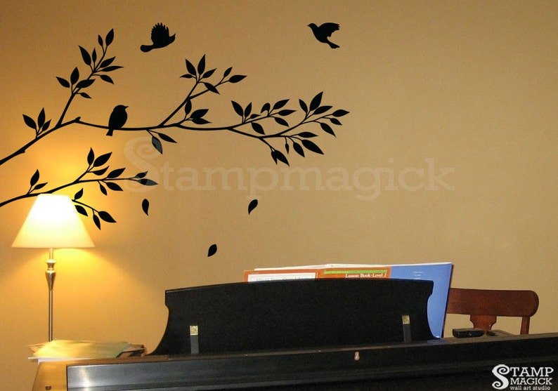 Tree Branch Wall Decal with Leaves  Vinyl Wall Art Decor image 0