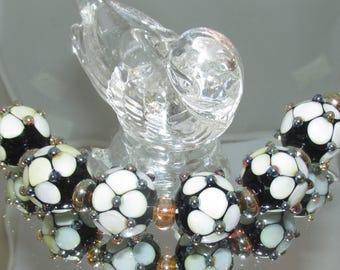 Black & White Glass Beads. Lampwork beads.