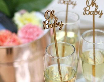 Oh Baby Drink Stirrers - Baby Shower - Set of 6 Laser Cut Acrylic Swizzle Sticks