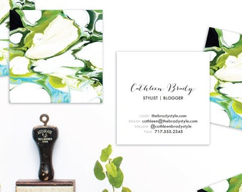 Marble Calling Cards | Green Chartreuse Aqua |  Business Cards | Blogger Cards | Set (50)