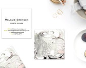 WILD Grey Taupe Blush Marble Calling Cards   Business Cards   Blogger Cards   Set (50)