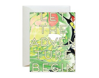 LET The ADVENTURE BEGIN Chartreuse Marble Greeting Card / Birthday / Graduation / Inspirational / BonVoyage